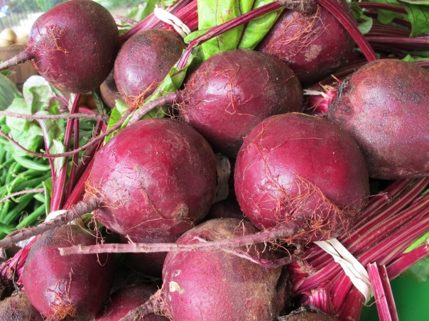 Fresh locally grown beets.
